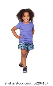 Adorable african little girl with denim miniskirt isolated over white