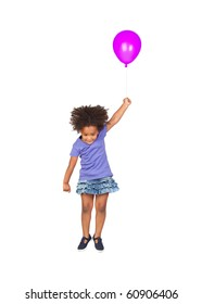 Adorable african little girl flying with a purple balloon isolated over white