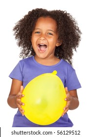 Adorable african little girl with yellow balloon isolated over white