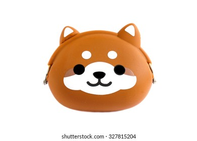 Adorable Animal Wallet Coin Purse, Made from Rubber, Selective Focus, Isolated on White Background