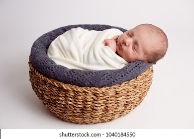 adorable, asleep, baby, background, basket, child, cute, dream, infant