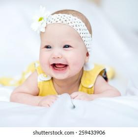 Adorable baby 5 months, close-up portrait