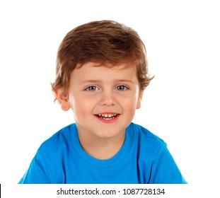 Adorable baby with blond hair isolated on a white background