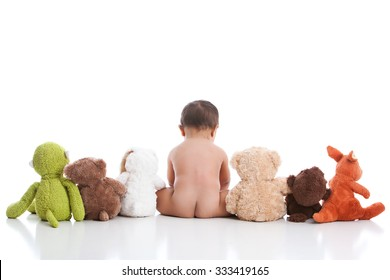 Adorable baby boy with his stuffed animals.  Isolated on white with room for your text.