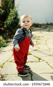Adorable baby boy one year old in red waterproof trousers walking outside on sunny spring day