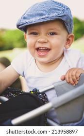 Adorable baby boy in park