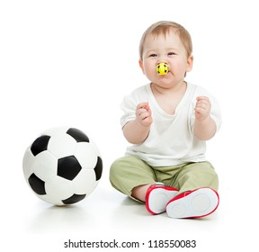 adorable baby football player with ball and whistle over white background