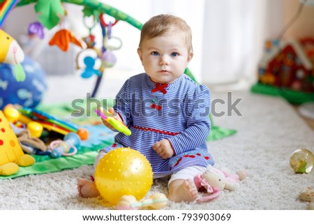 Adorable Baby Girl Playing Educational Toys Stock Photo Edit Now