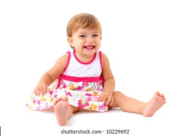 Adorable Baby laughing on white Background .