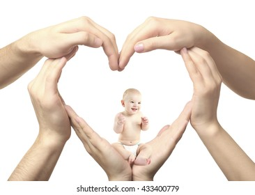 Adorable baby sitting in heart-shaped hands isolated on white