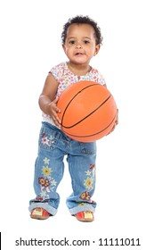 Adorable baby whit basketball a over white background