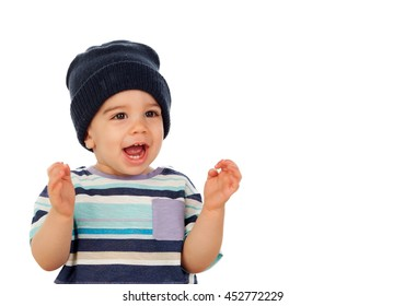 Adorable baby with wool cap isolated on a white background