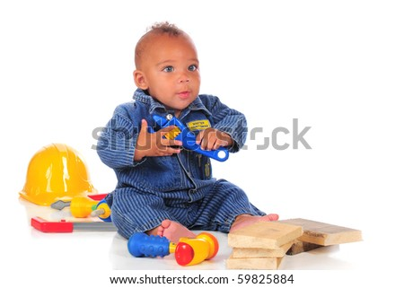 e58755cee39 Adorable Biracial Baby Workman Overalls Surrounded Stock Photo (Edit ...