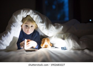 Adorable blond toddler child, cute boy, reading little book with little toy next to him under the duvet in bed