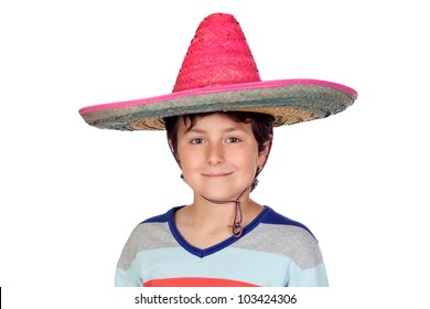 Adorable boy with a Mexican hat isolated on a over white background