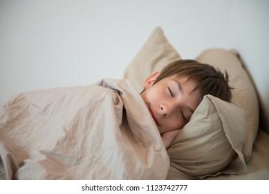 Adorable boy sleeping at home. Healthy child sleep. Sweet dreams