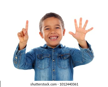 Adorable child counting with his fingers isolated on a white background