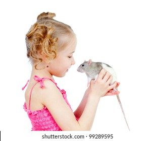 adorable child with domestic rat