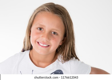 An Adorable child little girl on studio white background