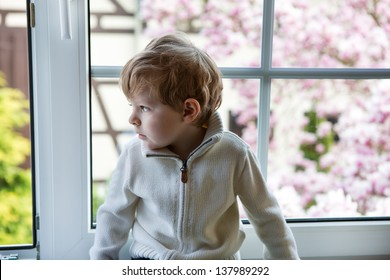 Adorable child looking out of the window on flowering garden