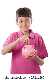 Adorable child with moneybox savings isolated over white