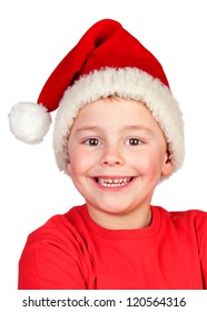 Adorable child with Santa Hat isolated on white background