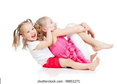 adorable children having funny pastime