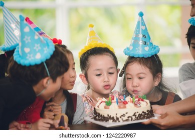 Adorable Children's Birthday Party with Cake in Happy Emotion at School with Friends