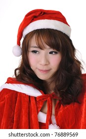 Adorable Christmas girl, half length closeup portrait on white background.