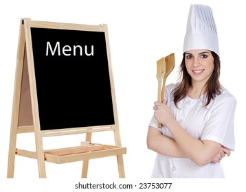 Adorable cook with a blackboard announcing the menu
