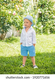Adorable cool summer style child boy oudoor. Kids fashion