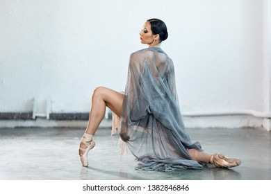 Adorable dark-haired ballet dancer in grey fishnet fabric costume with cape dancing in expressive manner over white background