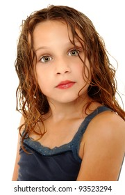 Adorable Girl Child Making Crazy Expression Over White with Wet Hair