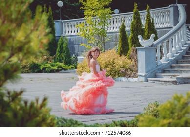 Adorable girl in dress. Little princess