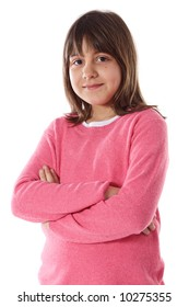Adorable girl a over white background