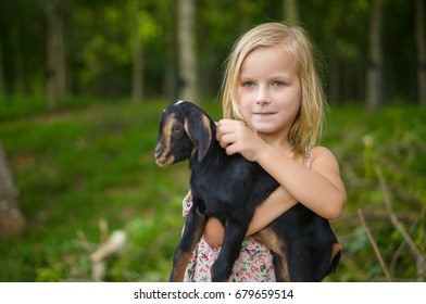 Adorable girl in park hold small beautiful baby goat