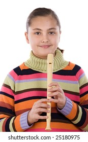 Adorable girl playing flute on a over white background
