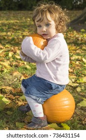 Adorable girl toddler embracing pumpkins on an autumn field