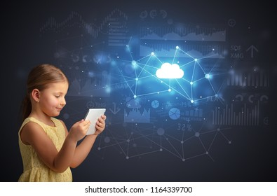 Adorable girl working on tablet with cloud technology concept