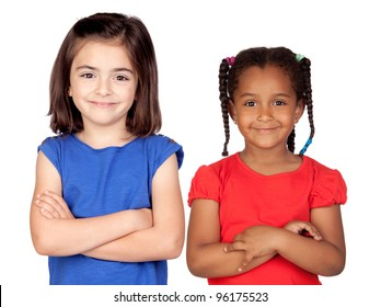 Adorable girls with crossed arms isolated on white background