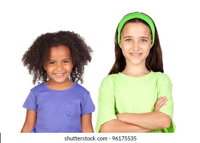 Adorable girls of different races isolated on white background