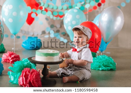 Adorable Happy Baby Boy Eating Cake One At His First Birthday Cakesmash Party