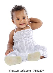 adorable happy baby a over white background