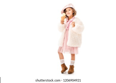 adorable happy child in stylish clothes with ice cream isolated on white