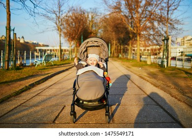 Adorable happy little girl sitting in pushchair outdoors on a fall or spring day on Swan island on the Seine in Paris, France