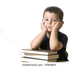 An Adorable kid bored  ( isolated on white )