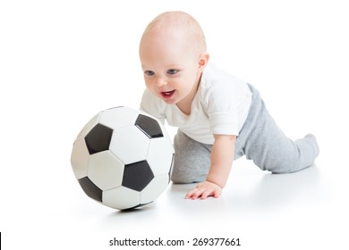adorable kid boy with foot ball isolated on white background