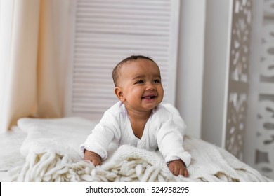 Adorable little african american baby boy laughing - Black people