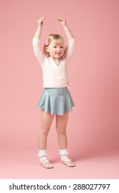 Adorable little ballerina practicing
