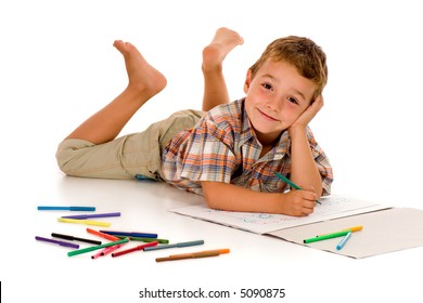 adorable little boy drawing-against white